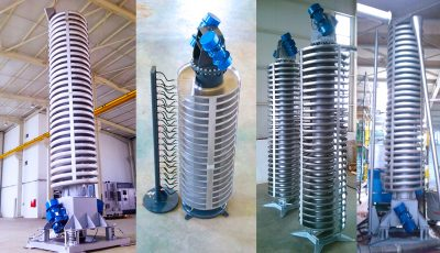 spiral conveyor, vibrating spiral conveyor, spiral vibration conveyor, vibra conveyor
